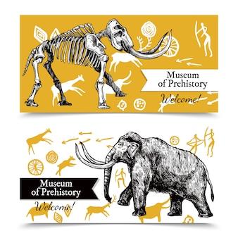 Croquis bannières mammouth dessinés à la main