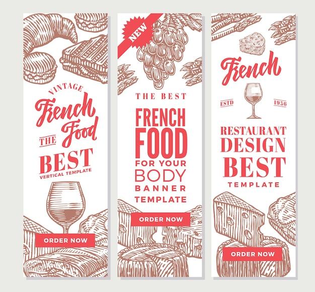 Croquis de bannières verticales de cuisine française