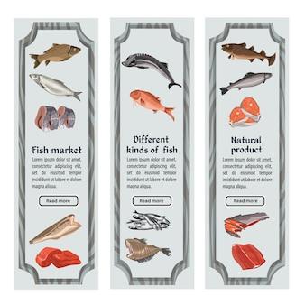 Croquis de bannières verticales de fruits de mer colorés