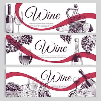 Croquis de bannières de vin.