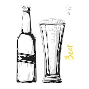 Croquis de bière dessiné à la main