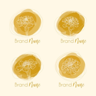Croquis botanique dessiné main de fleurs de souci dans la conception de logo