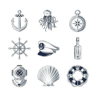 Croquis de bouée de sauvetage de roue d'ancre nautique