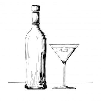 Croquis de bouteille d'alcool dessiné à la main