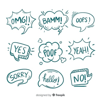 Croquis de bulles avec différentes expressions