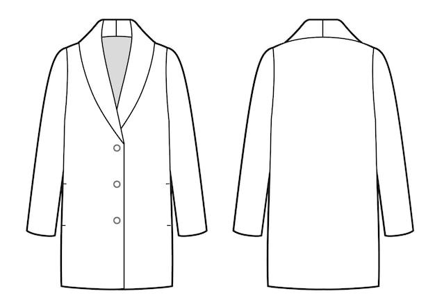 Croquis de bw manteau classique de la femme, avant et arrière