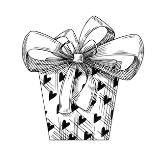 Croquis de cadeau avec archet. emballage festif. cadeau de la saint-valentin. illustration vectorielle