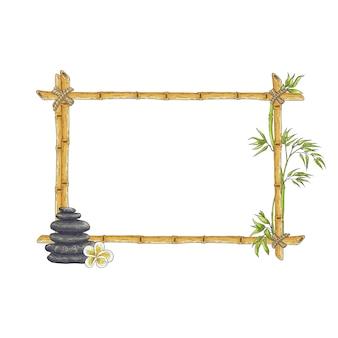 Croquis cadre en bambou avec galet zen