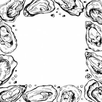 Croquis, cadre, illustration, de, huître frontière d'encre. ferme à huîtres et conception de restaurant d'huîtres.