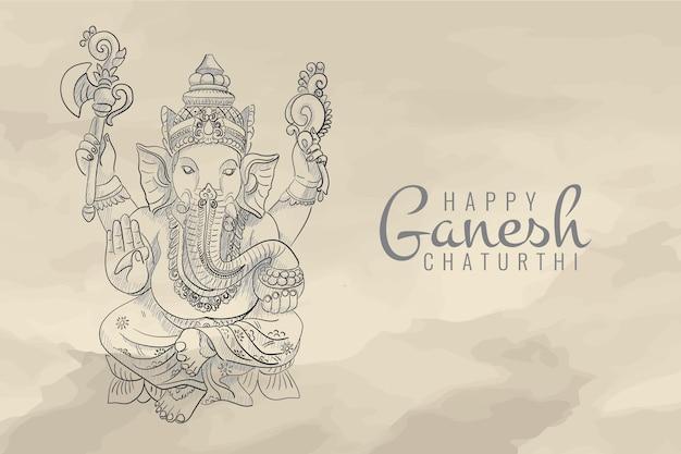 Croquis De La Célébration Du Seigneur Ganesh Chaturthi Vecteur Premium