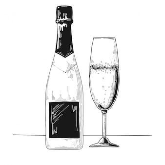 Croquis de champagne dessiné à la main