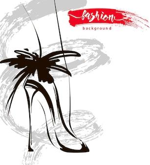Croquis avec des chaussures pour femmes et un spray coloré