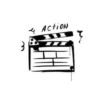 Croquis de clap de film clap de cinéma pour la production de cinéma icône dessinée à la main d'action