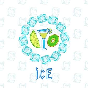 Croquis de cocktail avec kiwi et citron vert. cadre de glace. illustration vectorielle