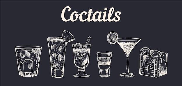 Croquis de cocktails alcoolisés dessinés à la main