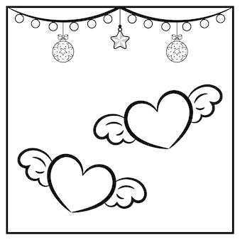 Croquis de coeur de noël avec ornement à colorier