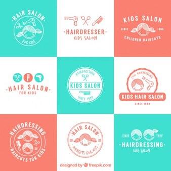 Croquis coiffeur enfants logos de salon