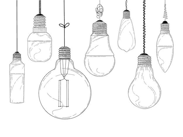 Croquis de la collection d'ampoules suspendues
