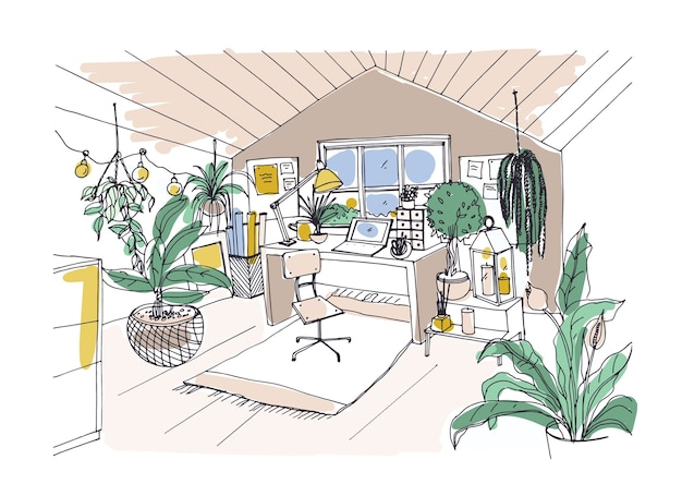 Croquis coloré de confortable chambre mansardée meublée dans un style hygge scandinave branché
