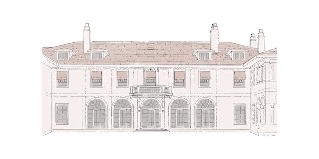 Croquis coloré, lieu de mariage, architecture. bâtiment historique