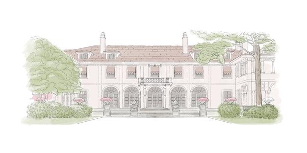 Croquis coloré, lieu de mariage, architecture. illustration avec manoir de style