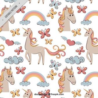Croquis coloré de motif licorne et éléments
