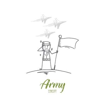 Croquis de concept de l'armée dessiné à la main