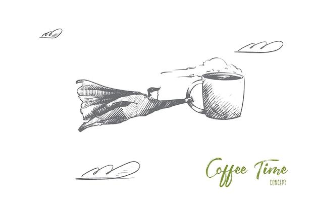Croquis de concept de café dessiné à la main. ami assis dans un café, boire du café et parler