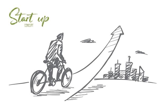Croquis de concept de démarrage dessiné à la main avec un jeune homme d'affaires