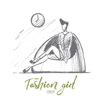 Croquis de concept fashion girl dessiné à la main