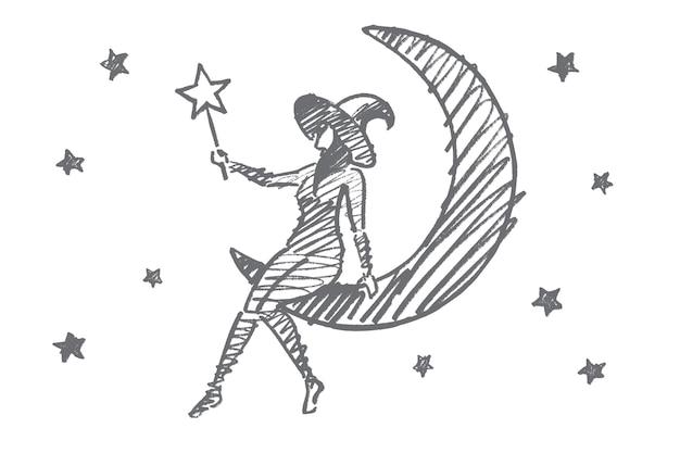 Croquis de concept de fille magique halloween dessiné à la main