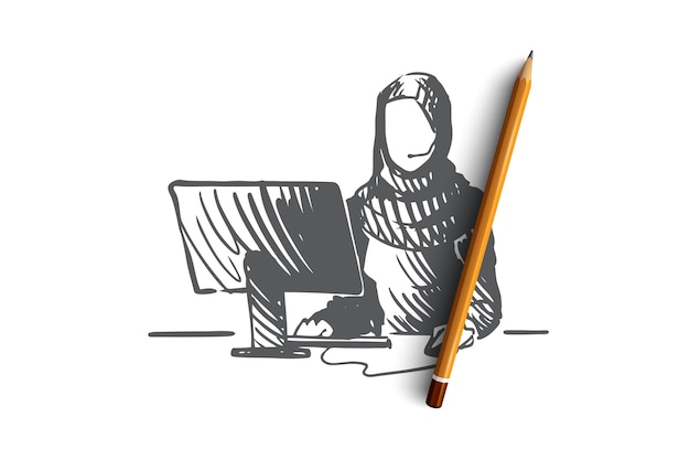 Croquis de concept de gestionnaire de soutien musulman féminin dessiné à la main