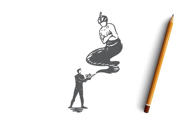 Croquis de concept de gin dessiné main homme d'affaires et lampe