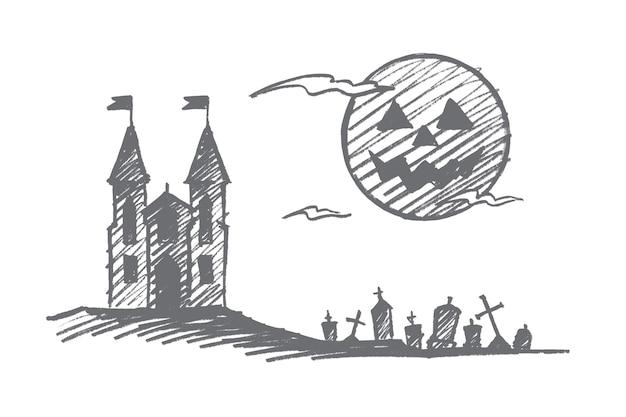 Croquis de concept halloween dessiné à la main