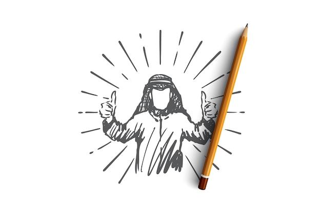Croquis de concept homme d'affaires arabe réussi dessiné main. illustration vectorielle isolé