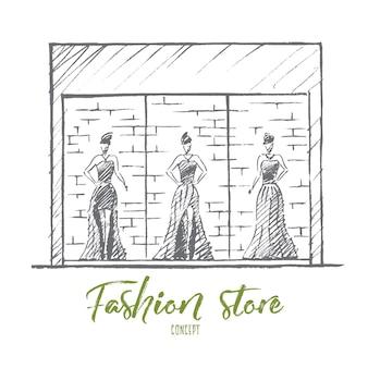 Croquis de concept de magasin de mode dessiné à la main