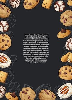 Croquis de conception graphique à l'encre. biscuits sucrés.