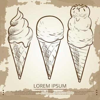 Croquis de cônes de crème glacée