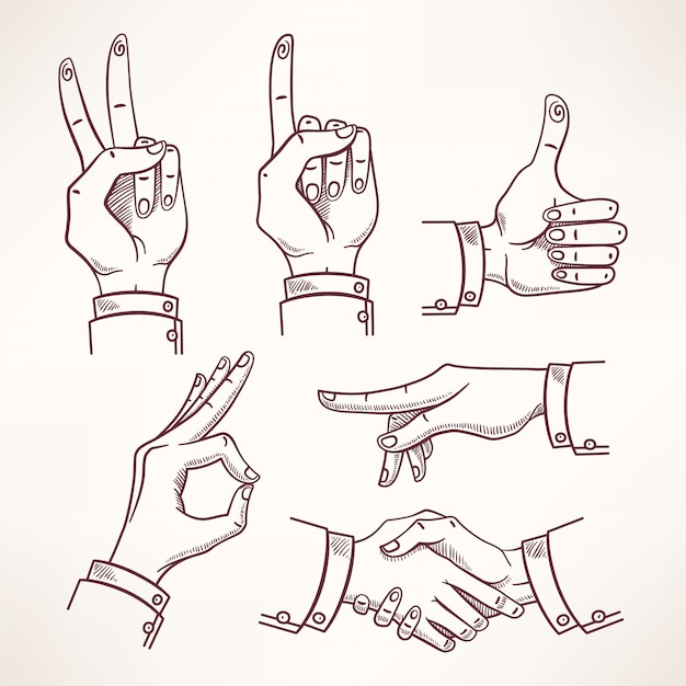 Croquis de contour des mains