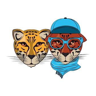 Croquis cool de léopards hipster