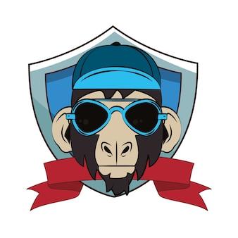 Croquis cool de singe hipster