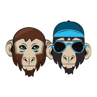 Croquis cool de singes hipster