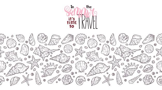 Croquis de coquillages de vecteur. lettrage: en été, il est temps de voyager.