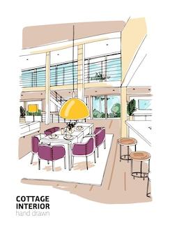 Croquis en couleur d'une maison d'habitation ou d'un chalet d'été meublé dans un style scandinave moderne.