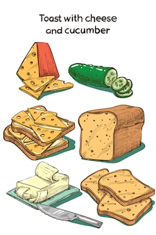 Croquis de couleur toast avec du fromage et du concombre
