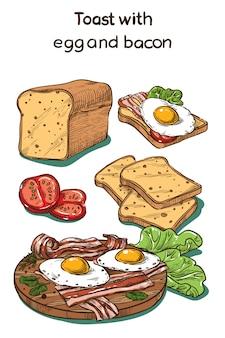 Croquis de couleur toast avec oeuf et bacon
