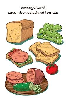 Croquis de couleur toast avec saucisse, concombre et tomate
