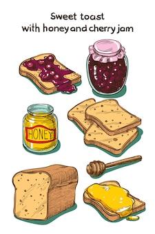 Croquis de couleur toast sucré au miel et confiture de cerises