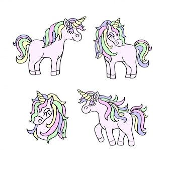 Croquis de couleurs pastel de licorne sur blanc