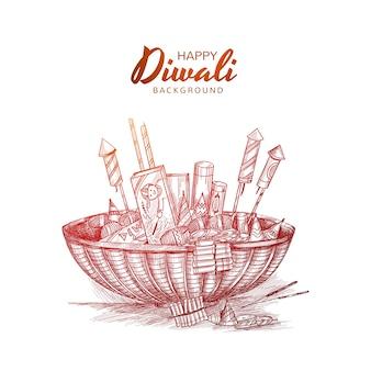 Croquis de craquelins diwali dessiner main
